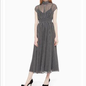 Kate Spade houndstooth silk chiffon midi dress